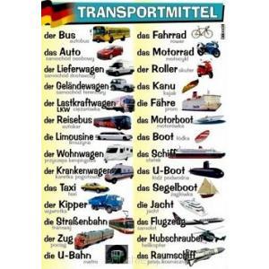 Plansza edukacyjna Niemiecki. Transportmittel