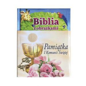 Biblia z obrazkami Pamiątka I Komunii Świętej różowa