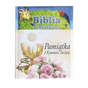 Biblia z obrazkami Pamiątka I Komunii Świętej niebieska