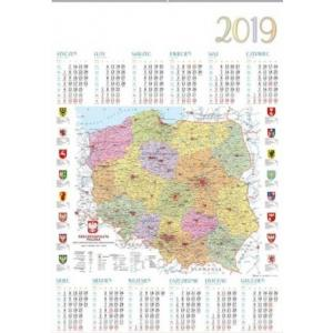 PL12 Kalendarz 2019 1-planszowy MAPA POLSKI