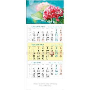 KT15 Kalendarz 2019 Trójdzielny KWIATY