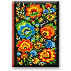 41DS-02 Kalendarz 2020 Książkowy dzienny B6 Soft Folk Kwiaty