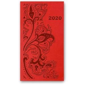 11TBR-09 Kalendarz 2020 Kieszonkowy tygodniowy A6 VIVELLA czerwony