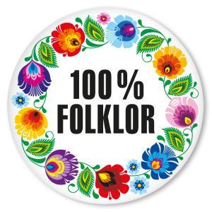 Przypinka duża 100% folklor biały Folkstar