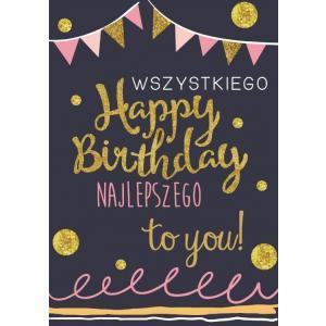 Karnet DK-545 Urodziny - happy birthday (Kropka kreska)