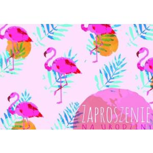 Zaproszenie ZZ-057 Urodziny, flamingi
