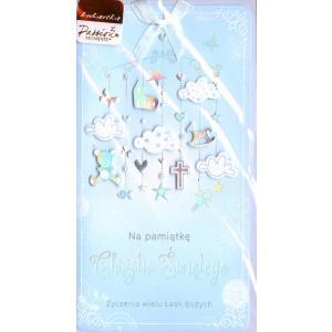 Pamiątka Chrztu Świętego Kartka niebieska PM-079
