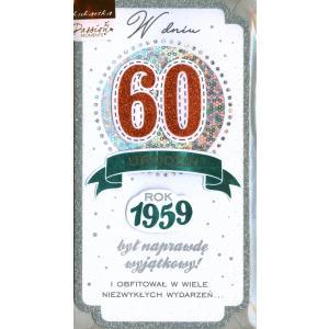 W Dniu 60 Urodzin Kartka Brokatowa PM-086