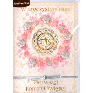 Pamiątka Pierwszej Komunii Świętej Karnet brokat DK-657