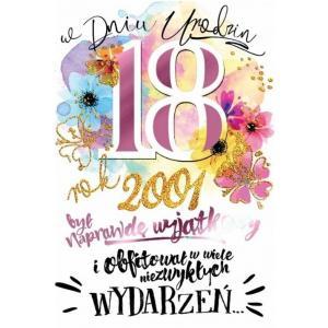 Karnet PR-145 Urodziny 18 (cyfry, osiemnastka) 2019
