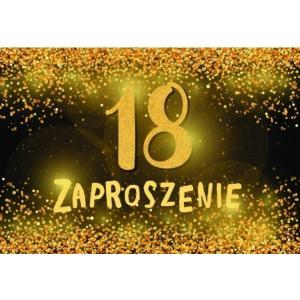 Zaproszenie ZZ-082 Urodziny 18 - złote konfetti