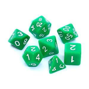 Komplet kości RPG - matowe zielone