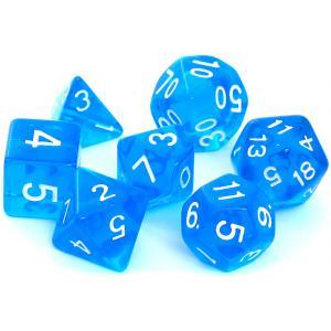 Komplet Kości REBEL RPG - Kryształowe - Niebieskie