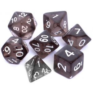 Komplet kości RPG - Kryształowe Czarne