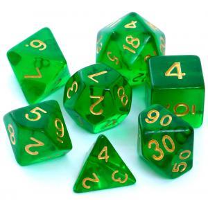 Komplet Kości RPG - Kryształowe Ciemnozielone