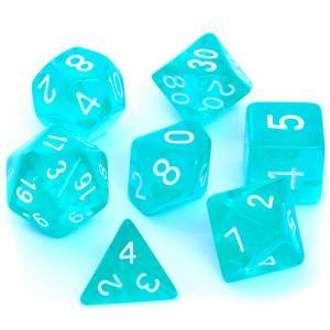 Komplet kości RPG - Kryształowe Błękitnie Szmaragdowe