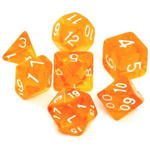 Komplet Kości RPG - Kryształowe Pomarańczowe