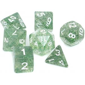 Komplet Kości RPG - Brokatowe Zielone