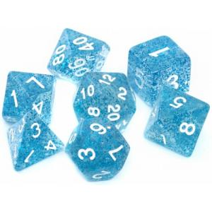Komplet kości RPG - Brokatowe niebieskie