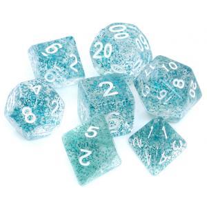 Komplet Kości RPG - Brokatowe Błękitne