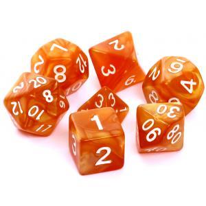 Komplet Kości RPG - Perłowe Ciemnożółte (Białe Cyfry)