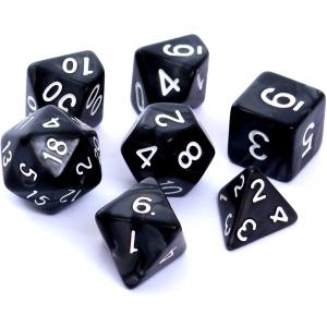 Komplet Kości RPG - Perłowe Czarne
