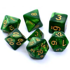 Komplet Kości RPG - Perłowe Zielone