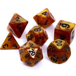 Komplet Kości RPG - Perłowe Ciemnożółte (Czarne Cyfry)