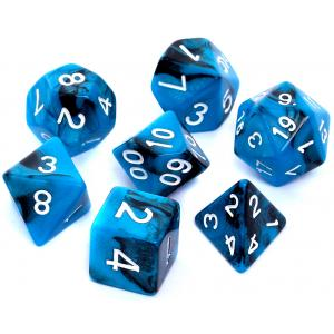 Komplet Kości RPG - Dwukolorowe Czarno Niebieskie