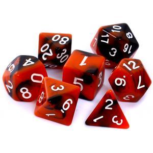 Komplet Kości RPG - Dwukolorowe Pomarańczowo Czarne