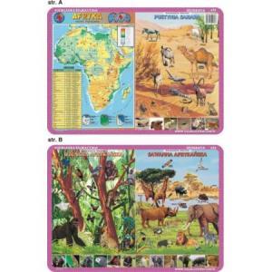 Podkładka edukacyjna 032 Geografia. Afryka Mapa Fizyczna, Zwierzęta – Sahara, Dżungla, Sawanna
