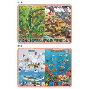 Podkładka edukacyjna 033 Geografia. Zwierzęta Świata - Dżungla Amazońska, Australia,Arktyka,Rafa Kor