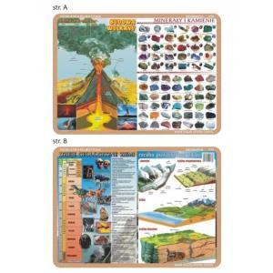 Podkładka edukacyjna 036 Geografia. Dzieje Geolog. Ziemi, Rzeźba Pow. Ziemi, Budowa Wulkanu,Minerał