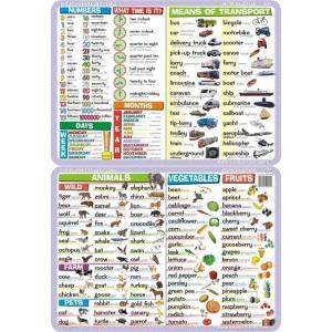 Podkładka edukacyjna 039 Język Angielski. Animals, Vegetables, Fruits, Numbers, Means of Transport