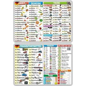 Podkładka edukacyjna 044 Język Niemiecki. Obst, Gemuse, Tiere