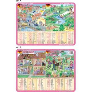 Podkładka edukacyjna 045 Język Niemiecki. Mein Haus, Familie im Garten, Meine Stadt, Sport