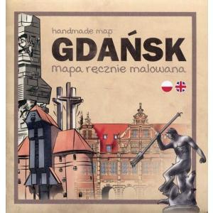 Gdańsk. Mapa ręcznie malowana