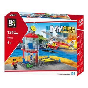 Klocki Blocki My Fire Brigade Strażnica + Helikopter 129el
