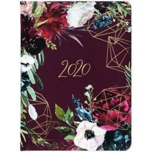 Kalendarz 2020 Tygodniowy B6 Kwiaty Bordo