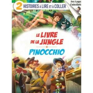2 histoires a lire et a coller Le livre de la Jungle / Pinocchio książka + naklejki