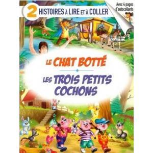 2 histoires a lire et a coller Le Chat Botte / Les Trois pettits cochons książka + naklejki