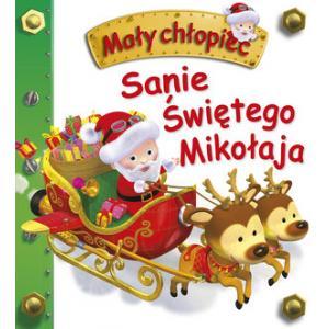 Sanie Świętego Mikołaja. Mały Chłopiec