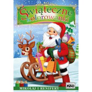 Świąteczne kolorowanki. Mikołaj i renifery