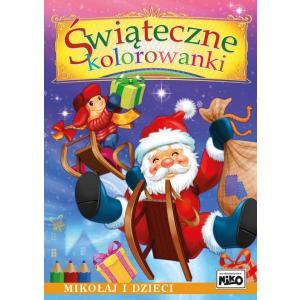 Świąteczne kolorowanki. Mikołaj i dzieci