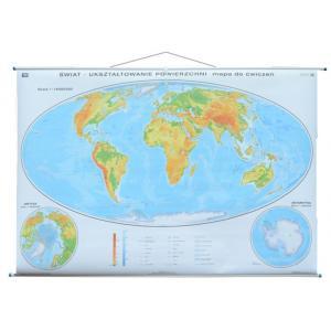 Dwustronna mapa ogólnogeograficzna świata z wersją ćwiczeniową