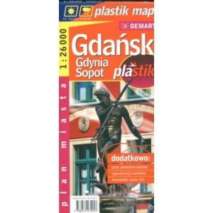 Gdańsk gdynia sopot laminowany plan miasta