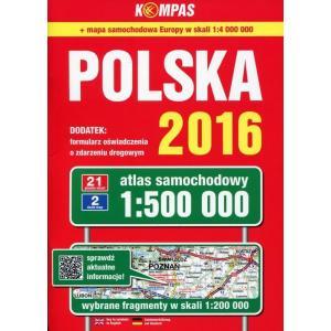 Polska 2016 Atlas samochodowy 1:500 000