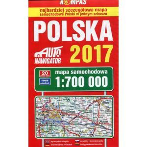Mapa samochodowa Polski 1:700 000 wyd. 2017