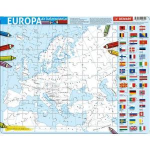 Puzzle ramkowe. Mapa Europy. Kolorowanka