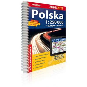 Polska atlas samochodowy 1:250 000 2020/2021 + Europa 1:4 000 000